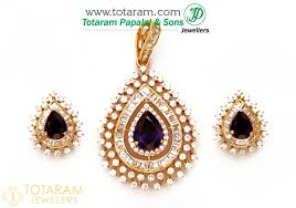 18k gold diamond pendant earring set with color stones 235 dps083