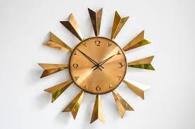 mid century large sunburst wall clock from atlanta