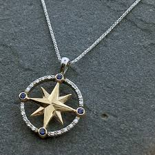 sapphire diamond compass rose necklace