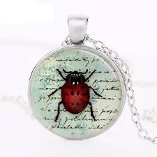 whole fashion ladybug necklace insect diy jewelry art pendant glass dome necklace gifts for friend handmade pendants red pendant necklace custom jewelry