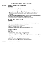Body Shop Estimator Resume Samples Velvet Jobs