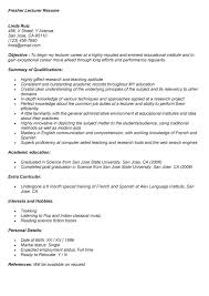 Resume for lectureship sample