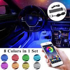 App Controlled Interior Car Lights Upstone Car Led Strip Lights Dc 12v 48led Interior Car Lights Waterproof Multi Color Dash Lighting Kit Usb Interface App Control