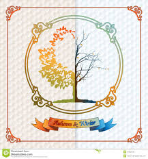 Winter Tree Template Vintage Seasons Template With Subtle Colors Change From Autumn To