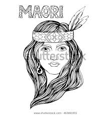 Portrait Girl Maori Illustration Can Be Stock Vector Royalty Free