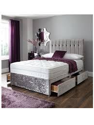Silver Bedroom Crushed Velvet Roll End Bed With Diamantac Stud Detail Silver