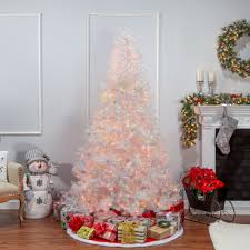 White Tree Colored Lights Iridescent 7 5 White Fir Artificial Christmas Tree With 650 Multi Colored Lights