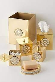 Cyra Bath Collection   Brass bathroom accessories, Tissue boxes, Gold home  decor