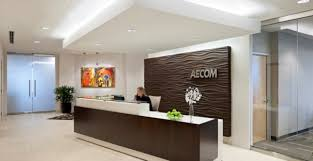 Good Office Reception Area Design With Chocolate Brown Desk And White  Gypsum Ceiling Ideas