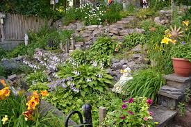 terraces for gardens on steep hill in