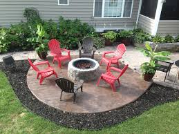 stamped concrete patio with square fire pit. Nice With Stamped Concrete Flooring Plus Red Dark Chairs Combined Rounded  Fire Place Also Stamped Concrete Patio With Square Fire Pit