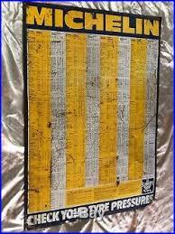 Michelin Tire Pressure Chart For Cars Original Vintage Michelin Enamel Sign Classic Car Garage