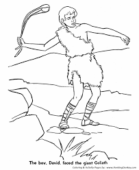 Small Picture Bible Story characters Coloring Page Sheets David and Goliath