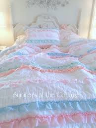 shabby cottage colors chic petticoat ruffles roses quilt set from 179 95