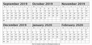 February 2020 Calendar Template Printable September 2019 To February 2020 Calendar Printable Fresh