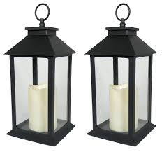 Amazon.com: Black Decorative LED Lanterns - LED Flickering Flameless Pillar  Candle with 5 Hour Timer Included - Indoor/Outdoor Lantern - Set of 2 -  13