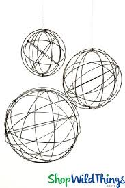 metal heavy wire spheres set of 3 28 20 14 orbs fold flat