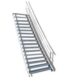 ✔günstiger versand ✔rabatt bei selbstabholung. 17 Stufige Stahltreppe Mit Einseitigem Gelander Breite 140cm Wangentreppe Mit 17 Stufen Gunstig Kaufen