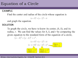 9 equation of a circle example find the center and radius