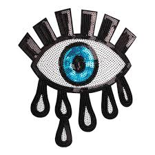 2019 <b>GUGUTREE Embroidery Paillette Big</b> Eyes Patches Tear ...