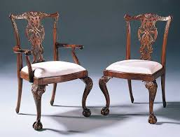 chippendale dining chairs. Carved Mahogany Chippendale Style Dining Chairs With Cabriole Leg And Moiré Upholstery T