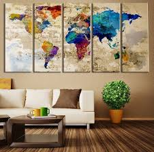 office canvas art. World Map Canvas Art Print, Large Wall Art, Extra Multipanel Print For Home And Office Decoration ◇ SIZE