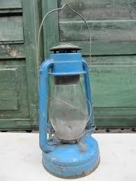 old blue green big oil lamp