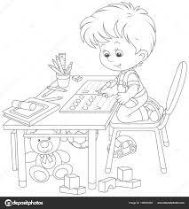 Kleine Jongen Zijn Huiswerk Een Werkboek Met Monsters Van Het