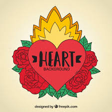 Heart Tattoo Background With Roses Drawn By Hand Vector Free Download