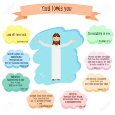 Dieu Vous Aime Illustration Vectorielle Sourire Citations De Jésus Et De La Bible Avec Des Versets Célèbres Sur Lamour Dans Les Bulles De La