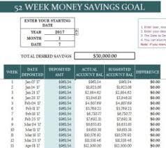 Savings Template 52 Week Money Savings Goal My Excel Templates