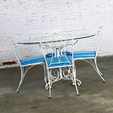salterini outdoor furniture. Salterini Style Wrought Iron Patio Set Round Table And Four Chairs With Turquoise Vinyl Seats Outdoor Furniture S