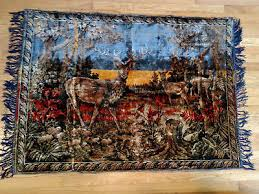 vintage tapestry wall hanging rug buck with two does in woods 54