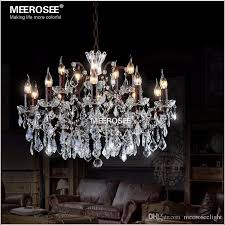 vintage crystal loft chandelier light retro rustic chandeliers ligts fixture 15 arms hanging drop lamp for home living room wrought iron chandeliers