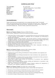 Resume Templates For Finance Professionals Proyectoportal Com