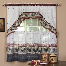Red Swag Kitchen Curtains Rooster Kitchen Curtains Shop Everything Log Homes