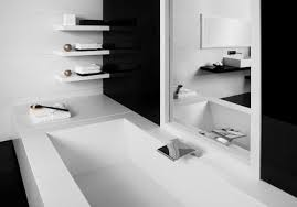 ... Perfect Adorable White Bathroom Design With Rectangular Shaped White  Black And White Bathroom By Black And ...