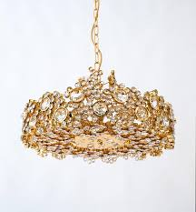 german pair palwa crystal glass gold plated brass chandeliers refurbished lamps 1960 for