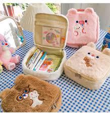 Flannel Bear Cosmetic Bag <b>Cute</b> Embroidery Plush <b>Storage Bag</b> ...