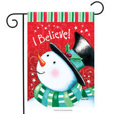 christmas garden flag.  Christmas I Believe Christmas Garden Flag Snowman Holiday 125 With R