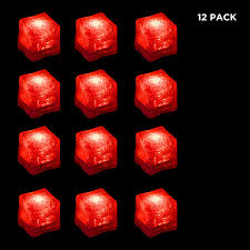 Lights The Ice Pack 12 Pack Light Up Led Ice Cubes With Changing Lights And On Off Switch Red