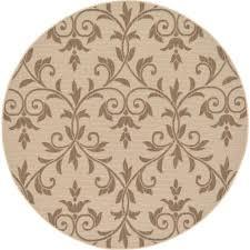 unique loom outdoor botanical beige 6 x 6 round rug