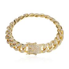 size 12mm width bling hiphop zircon bracelets men luxury gold jewelry ice out 2019 fashion hiphop cuban chain with