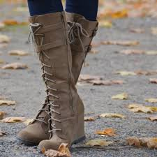 brown vintage boots round toe wedge heel knee high lace up boots image 1
