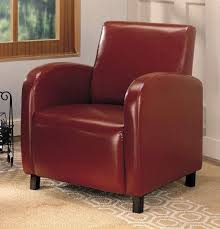 contemporary curved track arms and your choice of leatherette upholstery color make this coaster furniture clovis club chair perfect for your living room