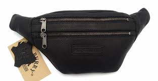 hill burry vb10068 3108 leather hip bag pouch bag sy chic look vintage leather black