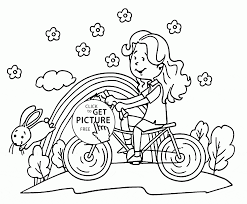Riding Bike In Spring Coloring Page For Kids Seasons Coloring Pages