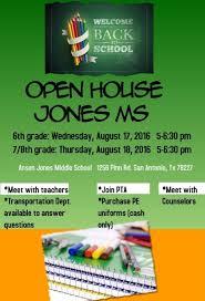 Open House Jones Middle School
