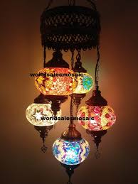 5 turkish mosaic chandelier lamp multicolor new