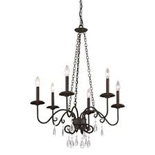 la rochelle 6 light cottage bronze chandelier with crystal accents
